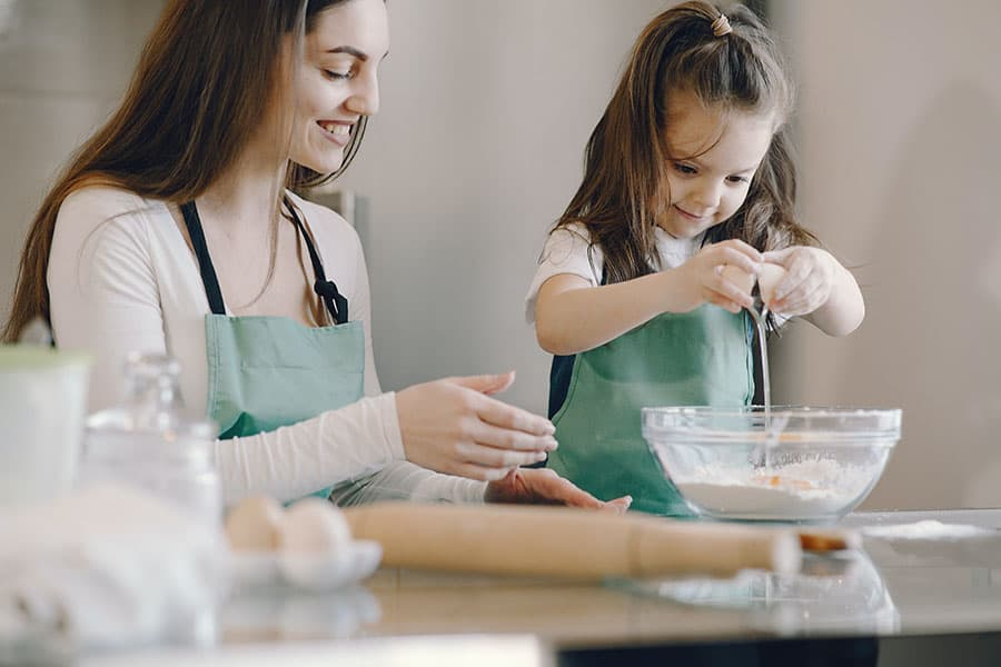 Woman and Child Baking with Sprouted Flour 900x600